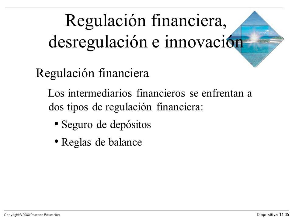 Diapositiva 14-35 Copyright © 2000 Pearson Educación Regulación financiera, desregulación e innovación Regulación financiera Los intermediarios financ