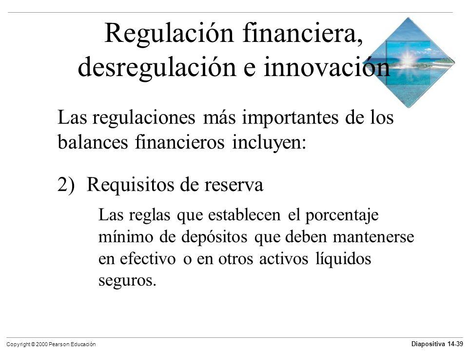 Diapositiva 14-39 Copyright © 2000 Pearson Educación Regulación financiera, desregulación e innovación Las regulaciones más importantes de los balance