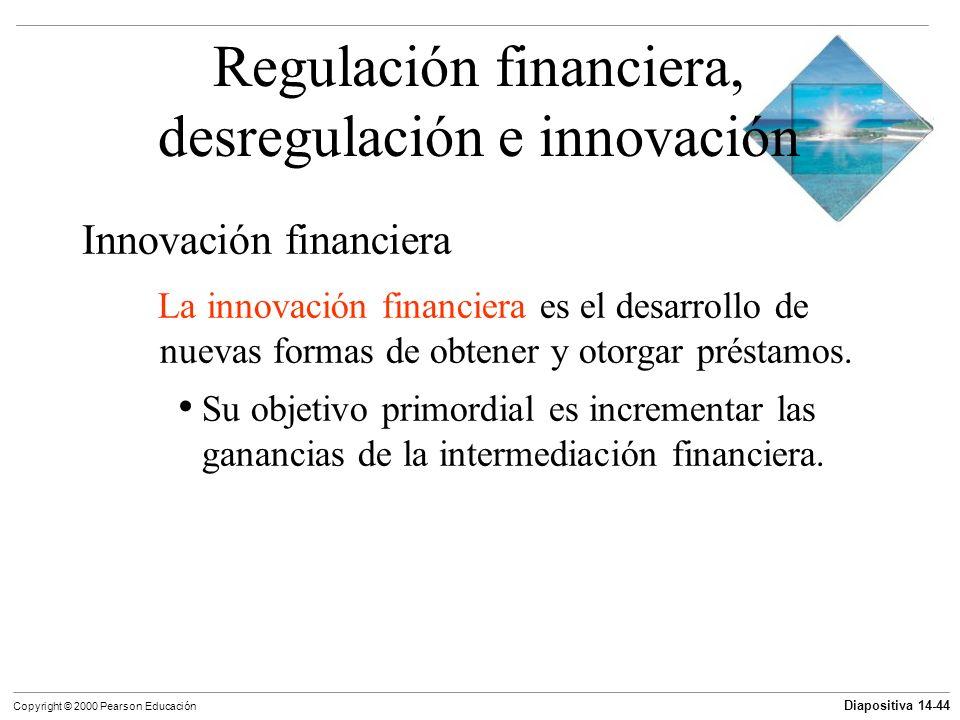 Diapositiva 14-44 Copyright © 2000 Pearson Educación Regulación financiera, desregulación e innovación Innovación financiera La innovación financiera