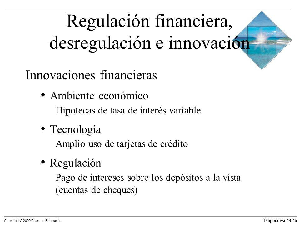 Diapositiva 14-46 Copyright © 2000 Pearson Educación Regulación financiera, desregulación e innovación Innovaciones financieras Ambiente económico Hip