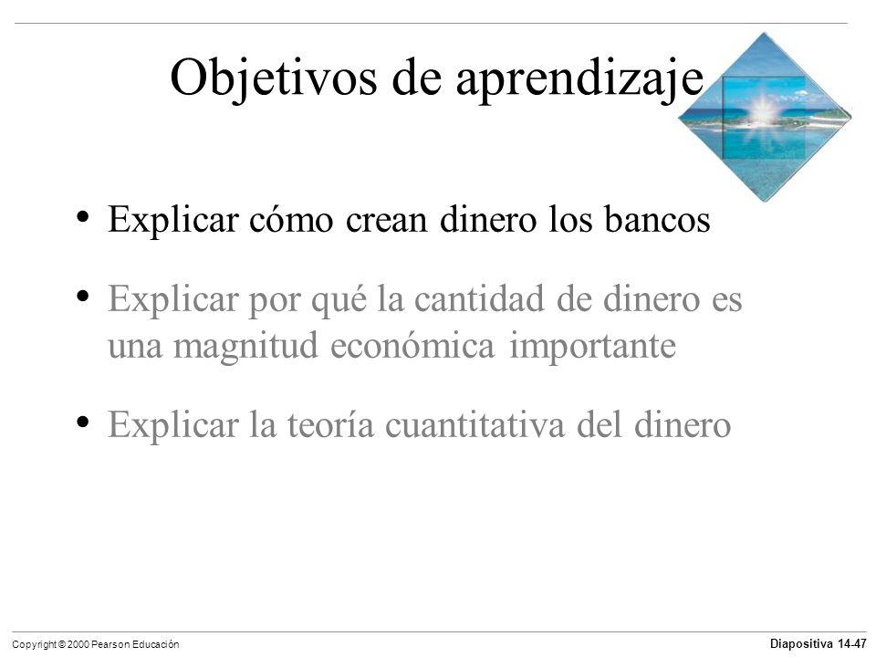 Diapositiva 14-47 Copyright © 2000 Pearson Educación Objetivos de aprendizaje Explicar cómo crean dinero los bancos Explicar por qué la cantidad de di