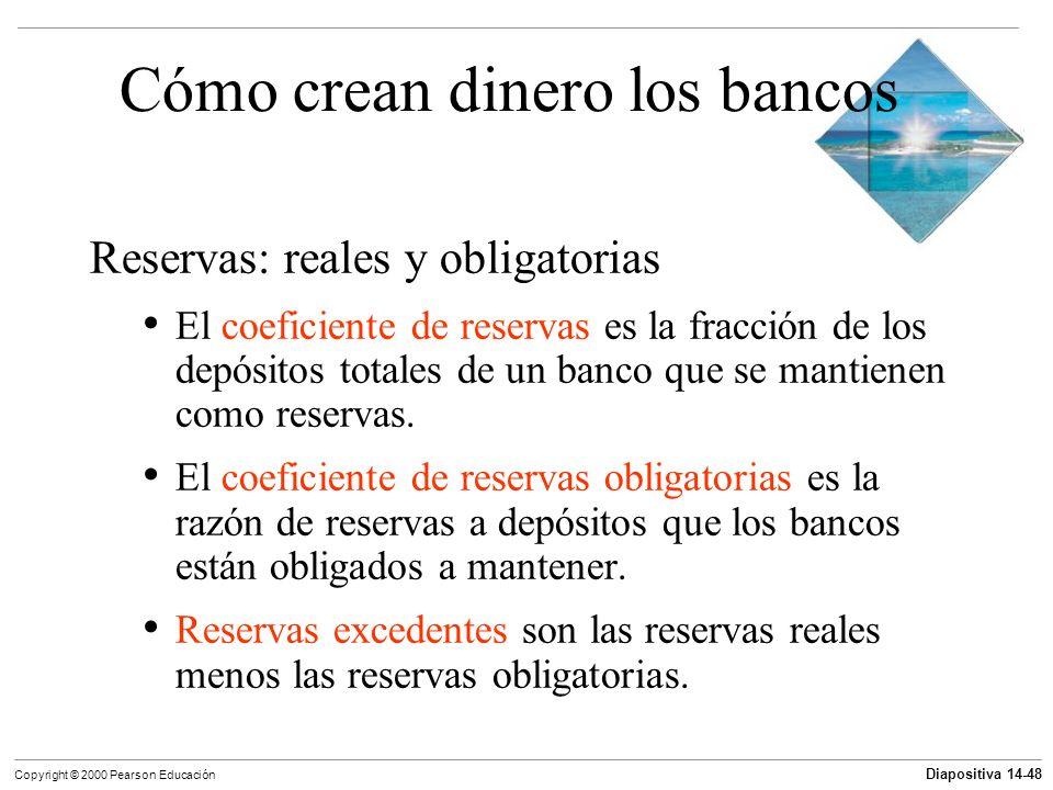 Diapositiva 14-48 Copyright © 2000 Pearson Educación Cómo crean dinero los bancos Reservas: reales y obligatorias El coeficiente de reservas es la fra