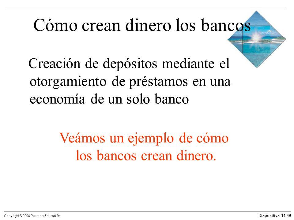 Diapositiva 14-49 Copyright © 2000 Pearson Educación Cómo crean dinero los bancos Creación de depósitos mediante el otorgamiento de préstamos en una e