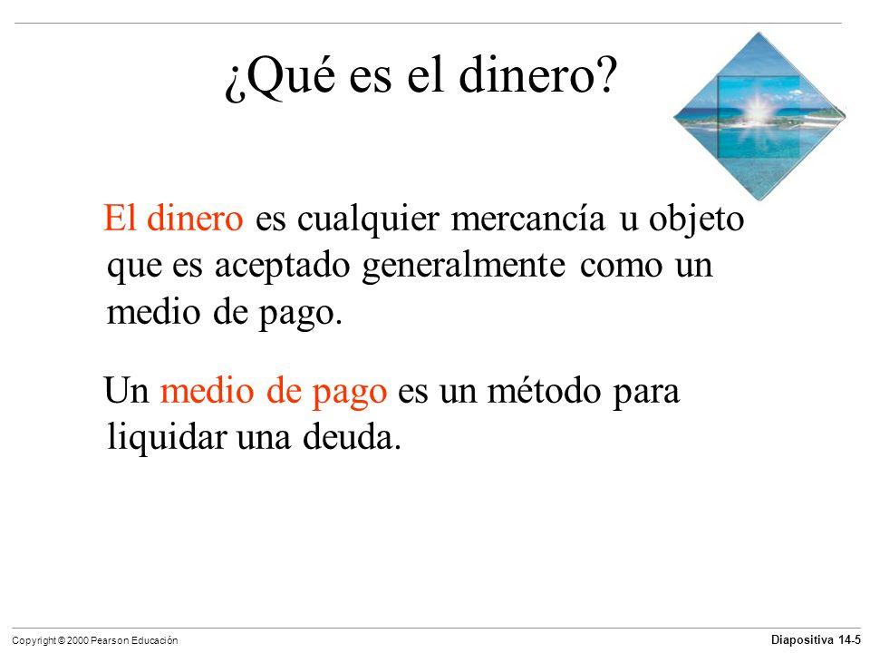 Diapositiva 14-5 Copyright © 2000 Pearson Educación ¿Qué es el dinero? El dinero es cualquier mercancía u objeto que es aceptado generalmente como un