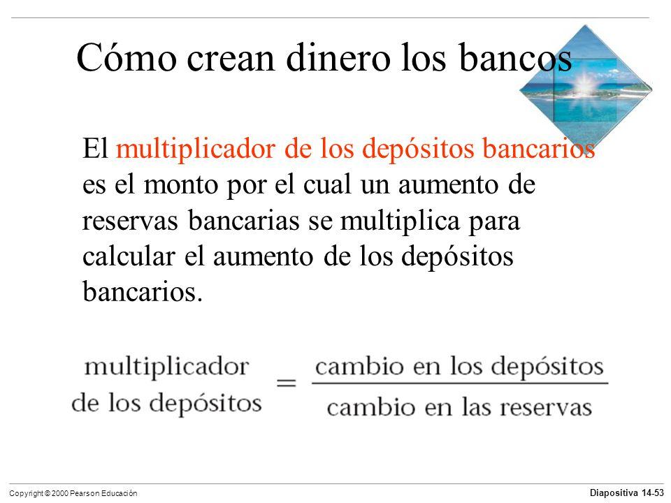Diapositiva 14-53 Copyright © 2000 Pearson Educación Cómo crean dinero los bancos El multiplicador de los depósitos bancarios es el monto por el cual