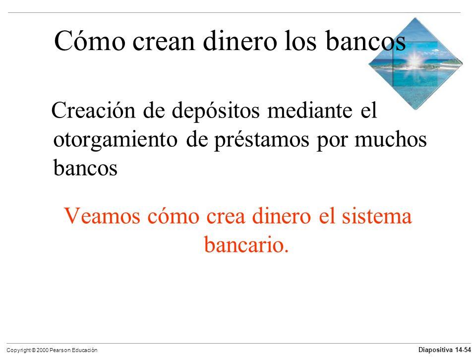 Diapositiva 14-54 Copyright © 2000 Pearson Educación Cómo crean dinero los bancos Creación de depósitos mediante el otorgamiento de préstamos por much