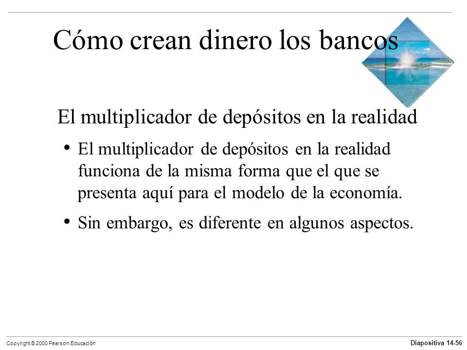 Diapositiva 14-56 Copyright © 2000 Pearson Educación Cómo crean dinero los bancos El multiplicador de depósitos en la realidad El multiplicador de dep