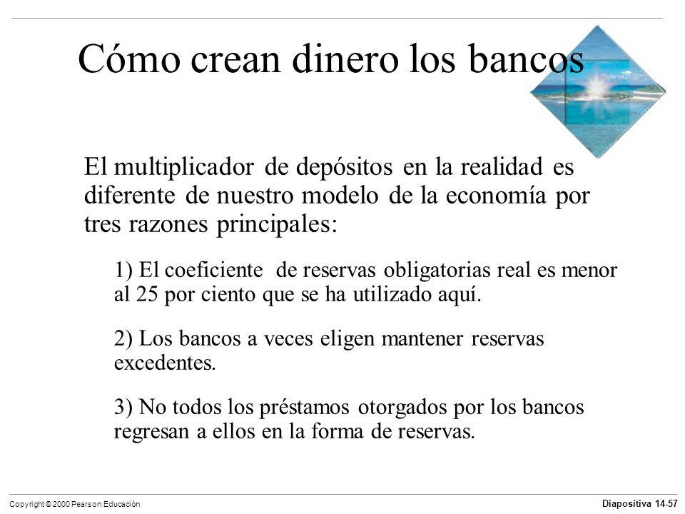 Diapositiva 14-57 Copyright © 2000 Pearson Educación Cómo crean dinero los bancos El multiplicador de depósitos en la realidad es diferente de nuestro