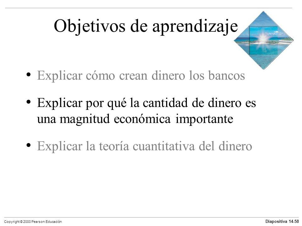 Diapositiva 14-58 Copyright © 2000 Pearson Educación Objetivos de aprendizaje Explicar cómo crean dinero los bancos Explicar por qué la cantidad de di