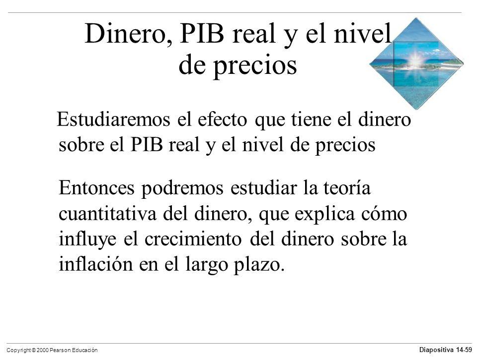 Diapositiva 14-59 Copyright © 2000 Pearson Educación Dinero, PIB real y el nivel de precios Estudiaremos el efecto que tiene el dinero sobre el PIB re