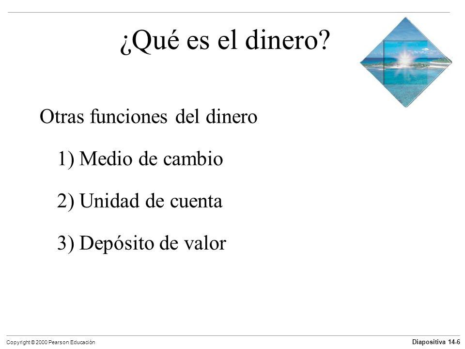 Diapositiva 14-6 Copyright © 2000 Pearson Educación ¿Qué es el dinero? Otras funciones del dinero 1) Medio de cambio 2) Unidad de cuenta 3) Depósito d