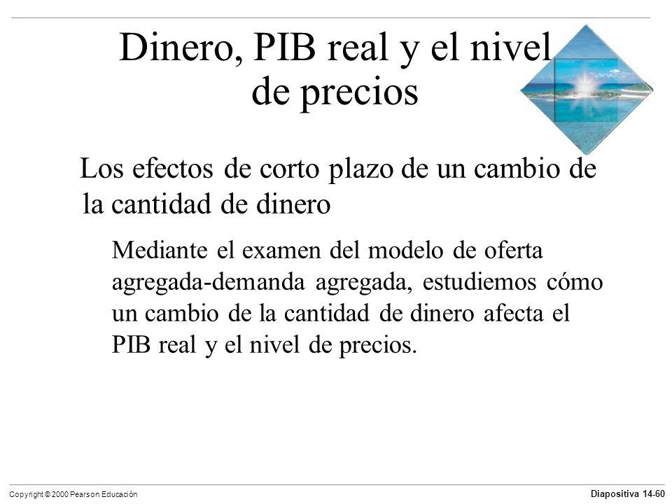 Diapositiva 14-60 Copyright © 2000 Pearson Educación Los efectos de corto plazo de un cambio de la cantidad de dinero Mediante el examen del modelo de