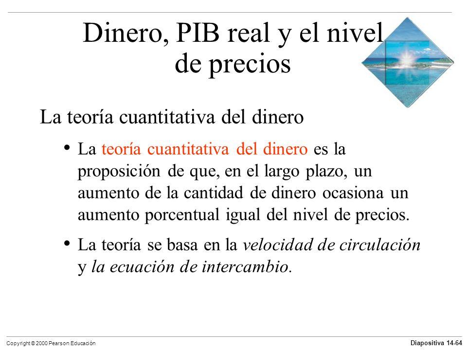 Diapositiva 14-64 Copyright © 2000 Pearson Educación La teoría cuantitativa del dinero La teoría cuantitativa del dinero es la proposición de que, en