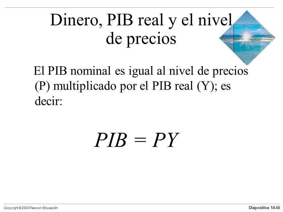 Diapositiva 14-66 Copyright © 2000 Pearson Educación El PIB nominal es igual al nivel de precios (P) multiplicado por el PIB real (Y); es decir: PIB =