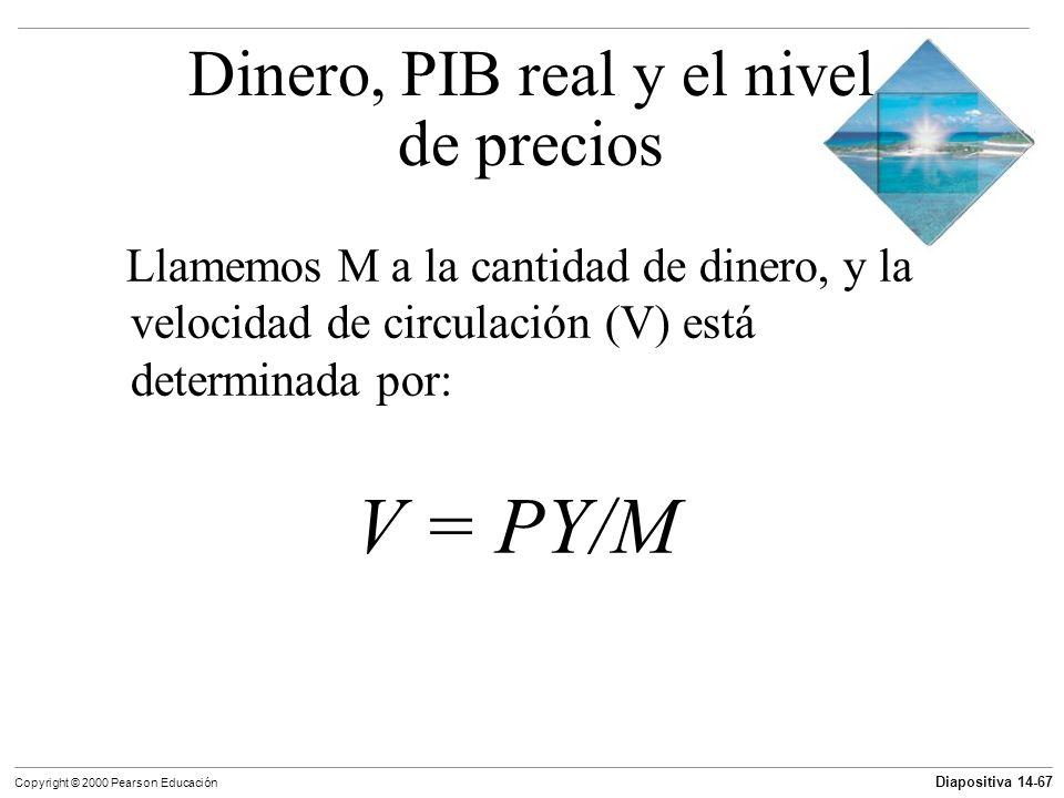 Diapositiva 14-67 Copyright © 2000 Pearson Educación Llamemos M a la cantidad de dinero, y la velocidad de circulación (V) está determinada por: V = P
