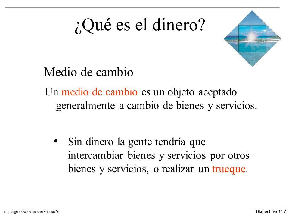 Diapositiva 14-7 Copyright © 2000 Pearson Educación ¿Qué es el dinero? Medio de cambio Un medio de cambio es un objeto aceptado generalmente a cambio