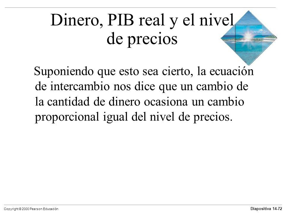 Diapositiva 14-72 Copyright © 2000 Pearson Educación Suponiendo que esto sea cierto, la ecuación de intercambio nos dice que un cambio de la cantidad