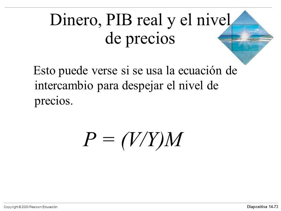 Diapositiva 14-73 Copyright © 2000 Pearson Educación Esto puede verse si se usa la ecuación de intercambio para despejar el nivel de precios. P = (V/Y