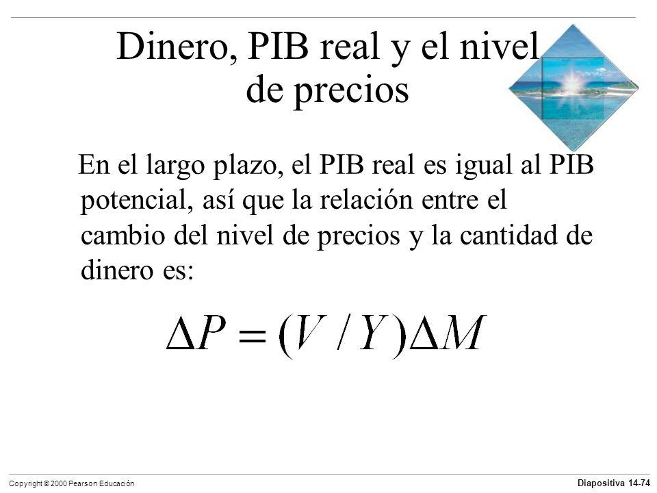 Diapositiva 14-74 Copyright © 2000 Pearson Educación En el largo plazo, el PIB real es igual al PIB potencial, así que la relación entre el cambio del