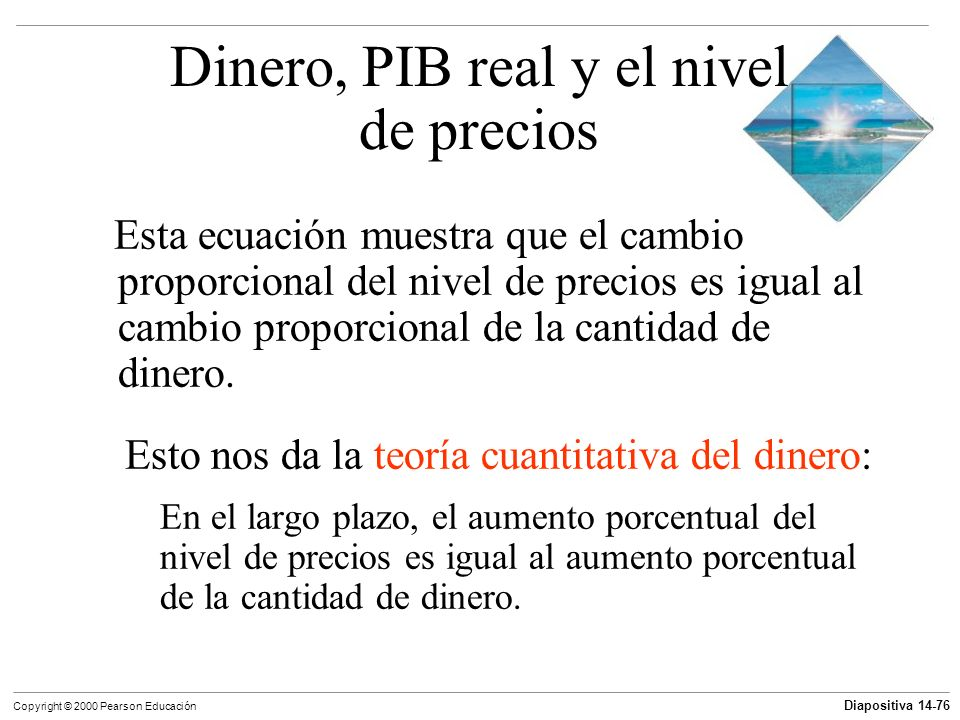 Diapositiva 14-76 Copyright © 2000 Pearson Educación Esta ecuación muestra que el cambio proporcional del nivel de precios es igual al cambio proporci