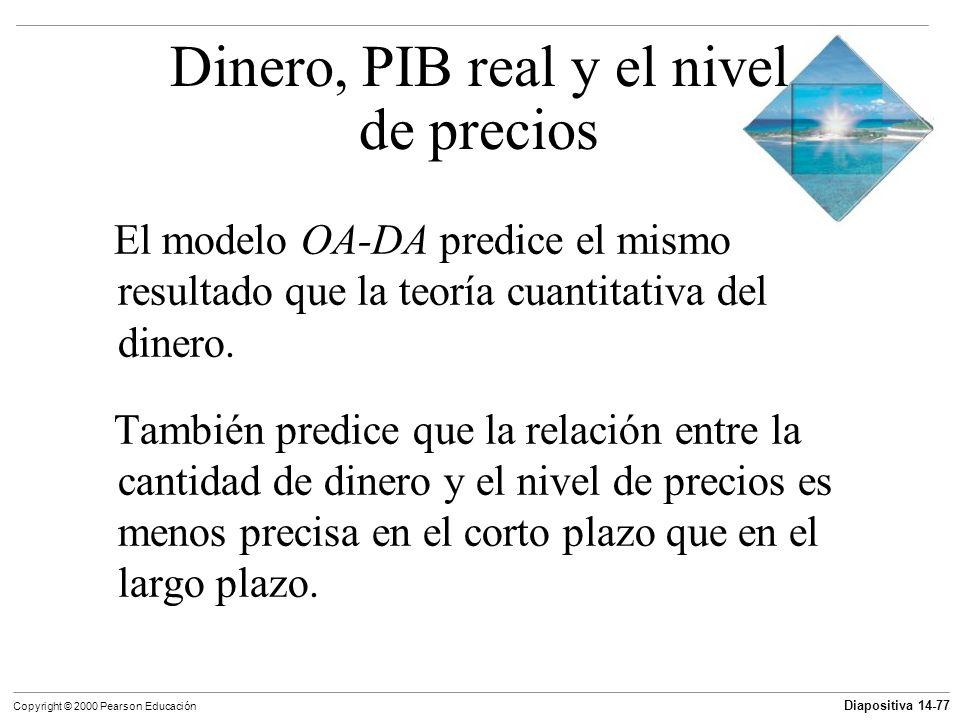 Diapositiva 14-77 Copyright © 2000 Pearson Educación El modelo OA-DA predice el mismo resultado que la teoría cuantitativa del dinero. También predice