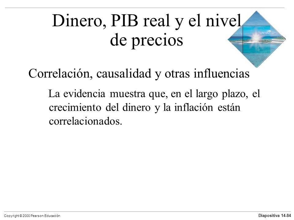 Diapositiva 14-84 Copyright © 2000 Pearson Educación Correlación, causalidad y otras influencias La evidencia muestra que, en el largo plazo, el creci