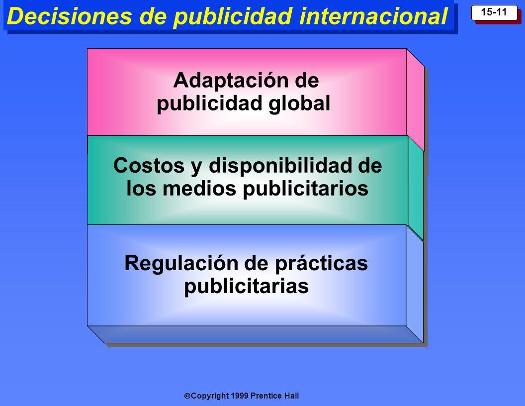 Copyright 1999 Prentice Hall 15-11 Decisiones de publicidad internacional Adapta ción de publicidad global Adapta ción de publicidad global Costos y d