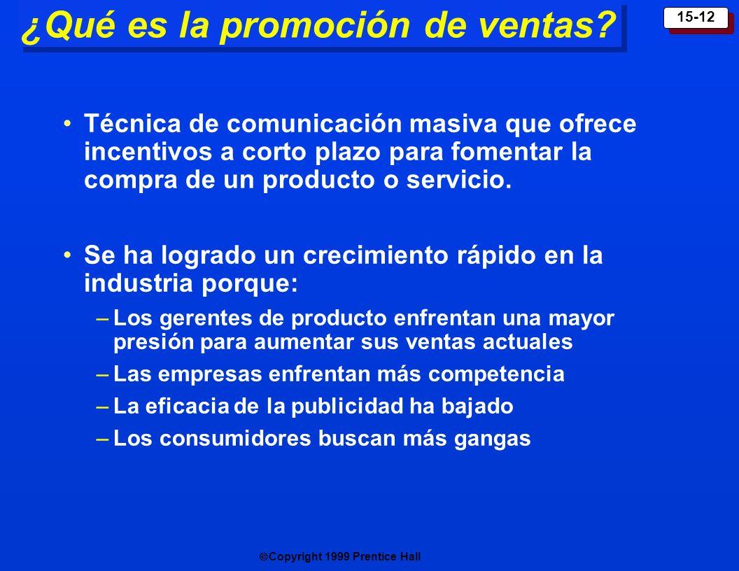 Copyright 1999 Prentice Hall 15-12 ¿Qué es la promoción de ventas? Técnica de comunicación masiva que ofrece incentivos a corto plazo para fomentar la