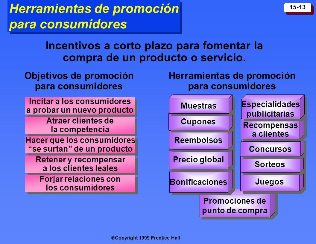 Copyright 1999 Prentice Hall 15-13 Promociones de punto de compra Herramientas de promoción para consumidores Bonificaciones Precio global Reembolsos