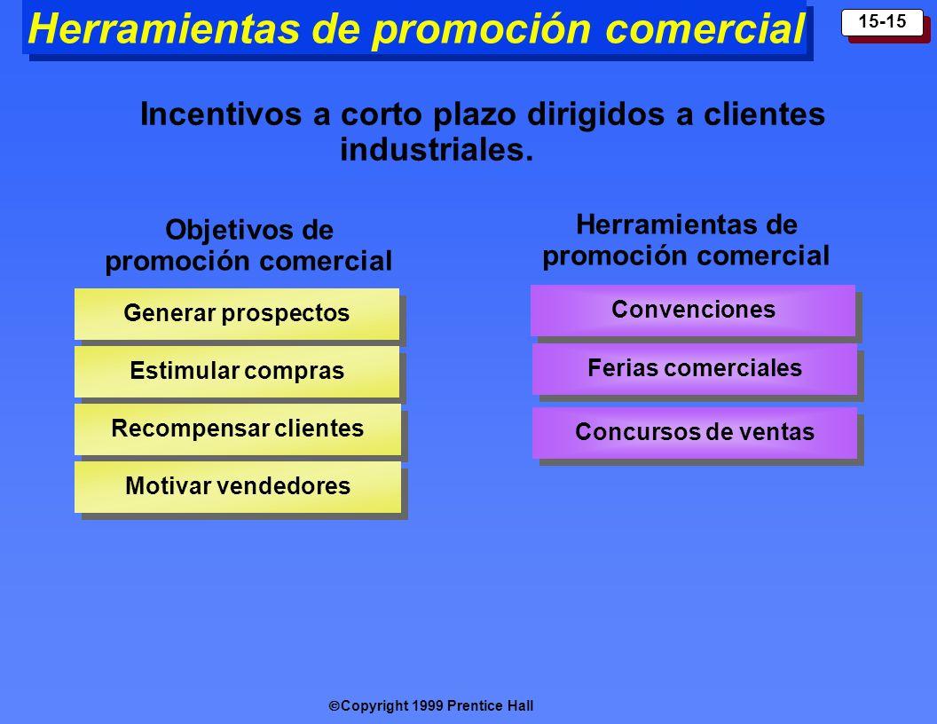 Copyright 1999 Prentice Hall 15-15 Herramientas de promoción comercial Incentivos a corto plazo dirigidos a clientes industriales. Objetivos de promoc