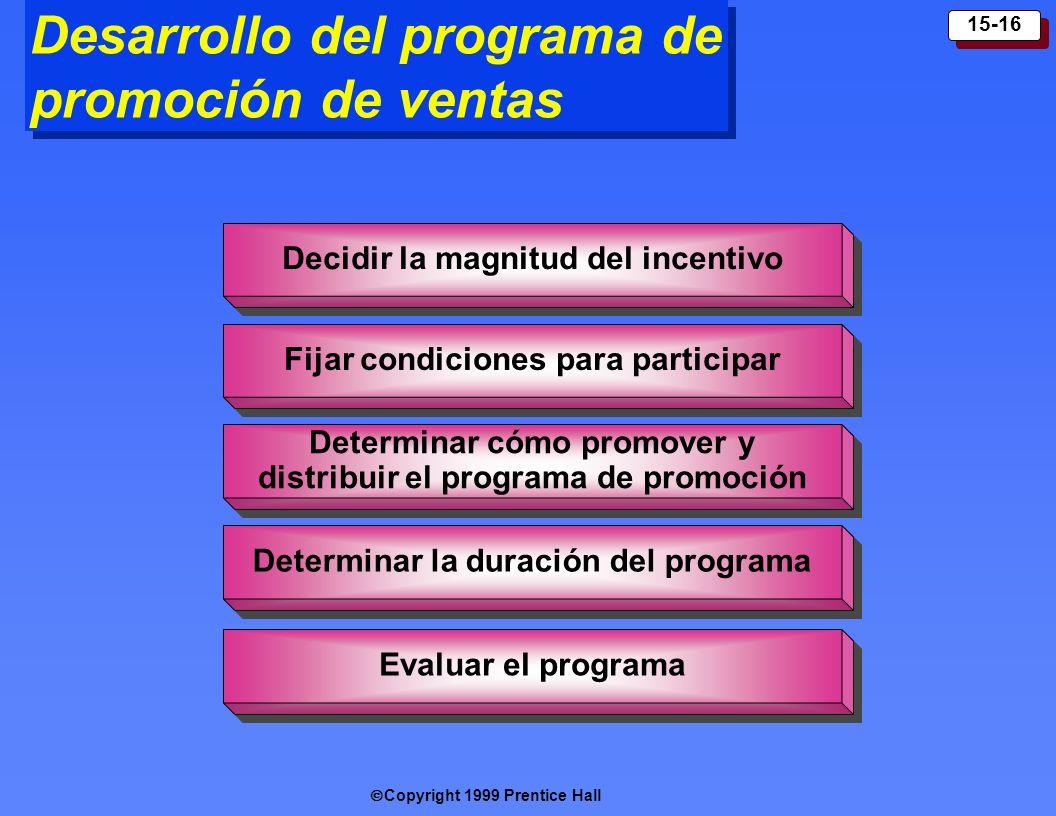 Copyright 1999 Prentice Hall 15-16 Decid ir la magnitud del i ncentiv o Fijar condiciones para participar Evalua r el programa Determin ar cómo promov