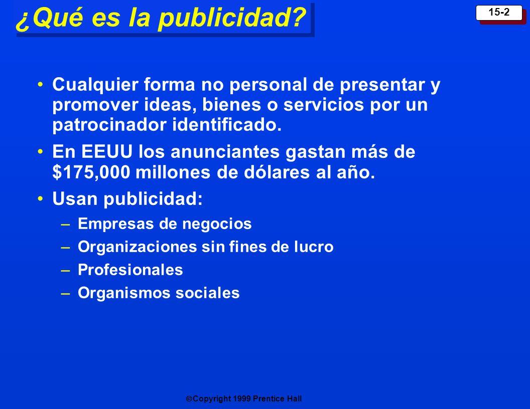 Copyright 1999 Prentice Hall 15-2 ¿Qué es la publicidad? Cualquier forma no personal de presentar y promover ideas, bienes o servicios por un patrocin