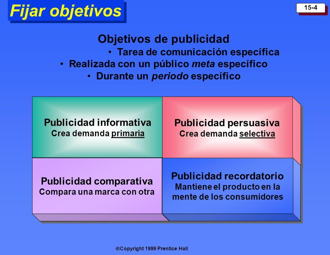 Copyright 1999 Prentice Hall 15-15 Herramientas de promoción comercial Incentivos a corto plazo dirigidos a clientes industriales.