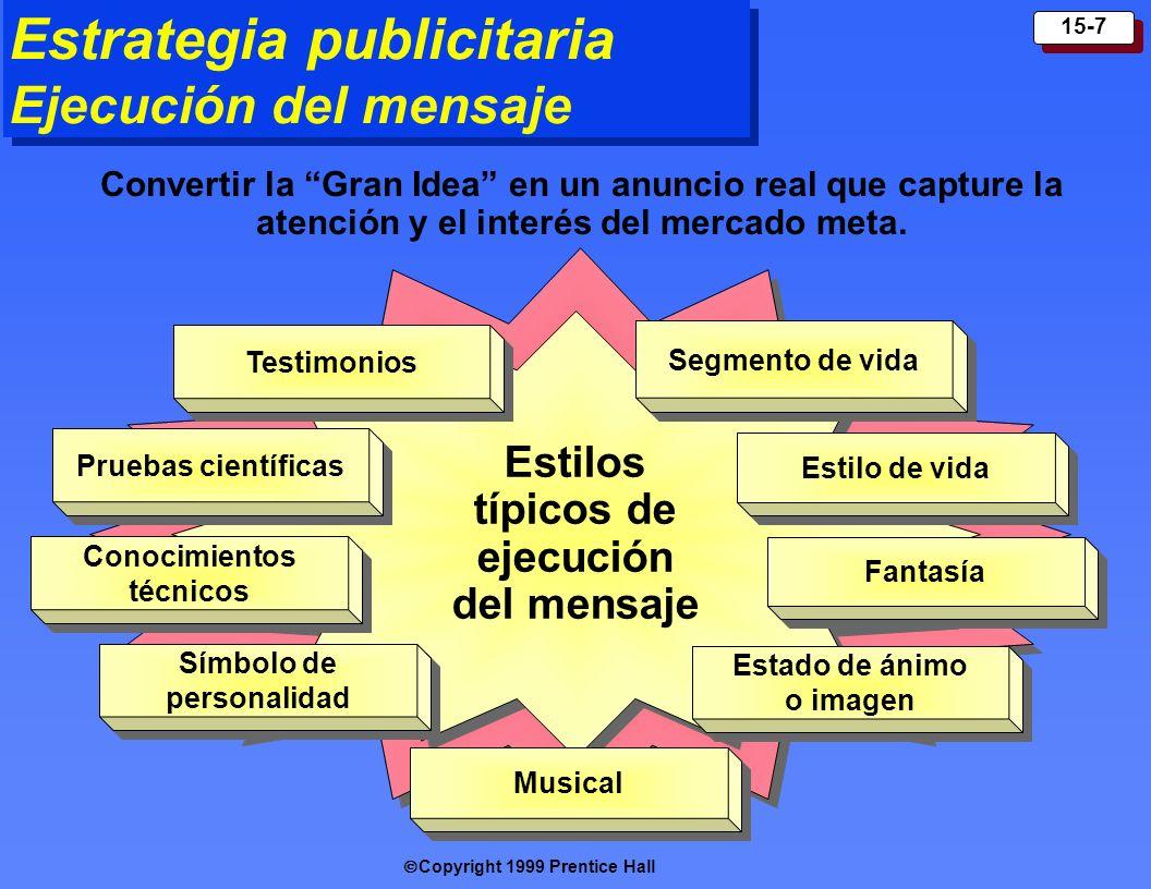 Copyright 1999 Prentice Hall 15-7 Estrategia publicitaria Ejecución del mensaje Estilos típicos de ejecución del mensaje Testimoni os Segmento de vida