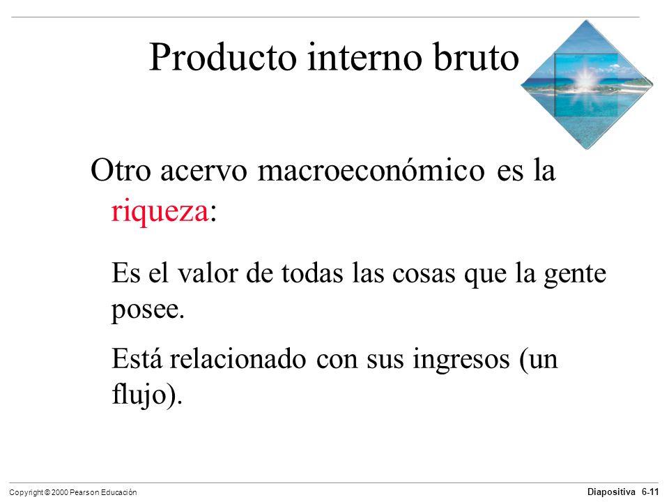 Diapositiva 6-11 Copyright © 2000 Pearson Educación Producto interno bruto Otro acervo macroeconómico es la riqueza: Es el valor de todas las cosas qu