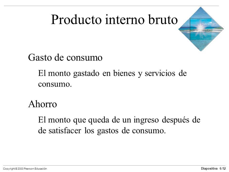 Diapositiva 6-12 Copyright © 2000 Pearson Educación Producto interno bruto Gasto de consumo El monto gastado en bienes y servicios de consumo. Ahorro