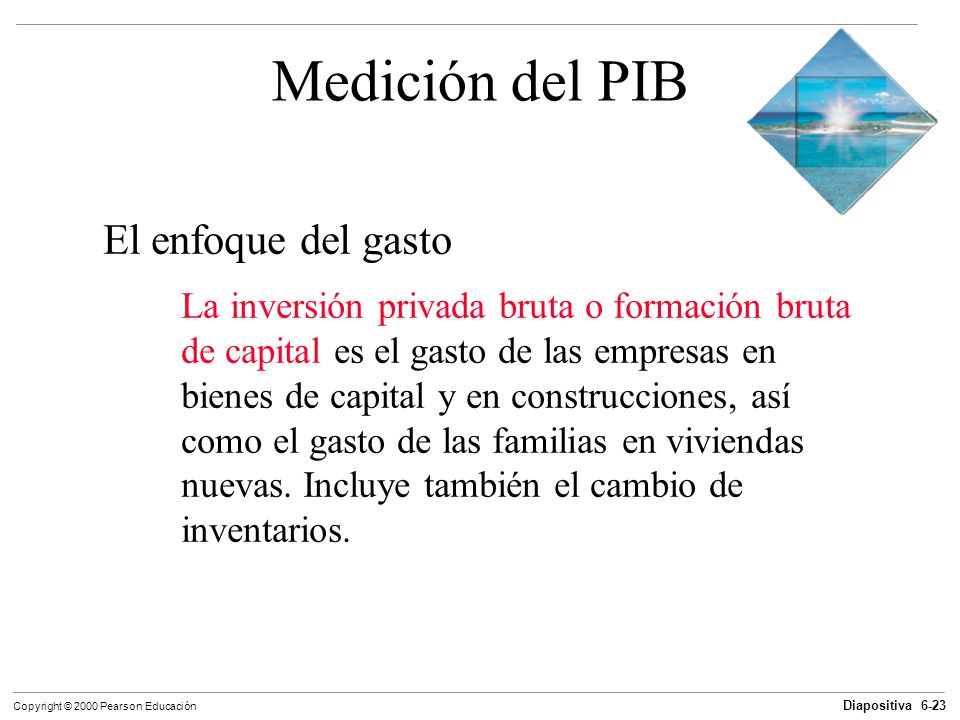 Diapositiva 6-23 Copyright © 2000 Pearson Educación Medición del PIB El enfoque del gasto La inversión privada bruta o formación bruta de capital es e