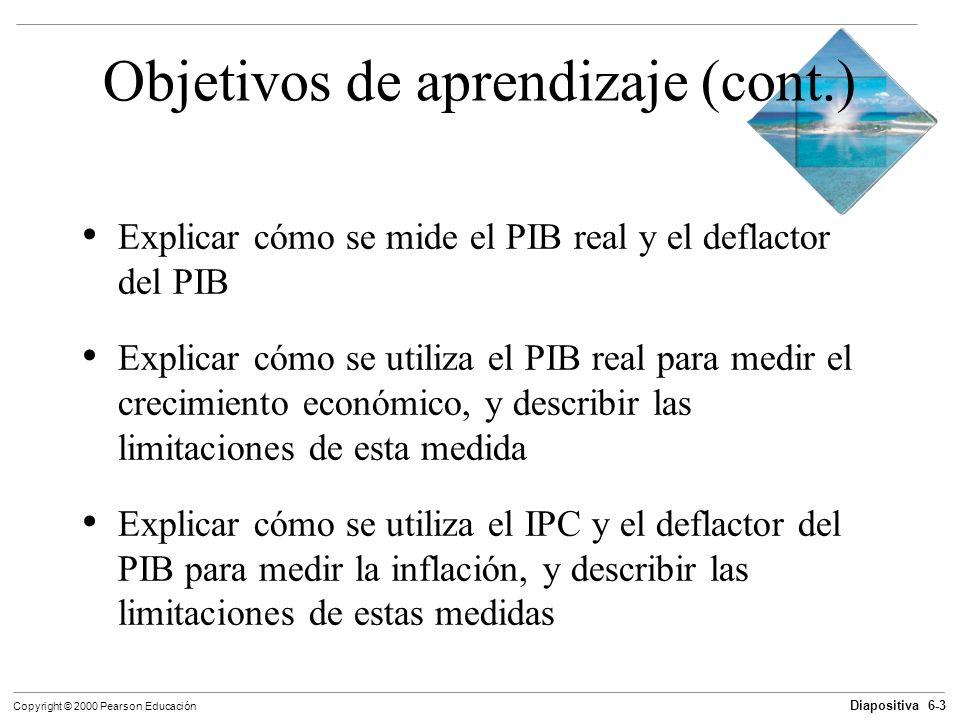 Diapositiva 6-3 Copyright © 2000 Pearson Educación Objetivos de aprendizaje (cont.) Explicar cómo se mide el PIB real y el deflactor del PIB Explicar