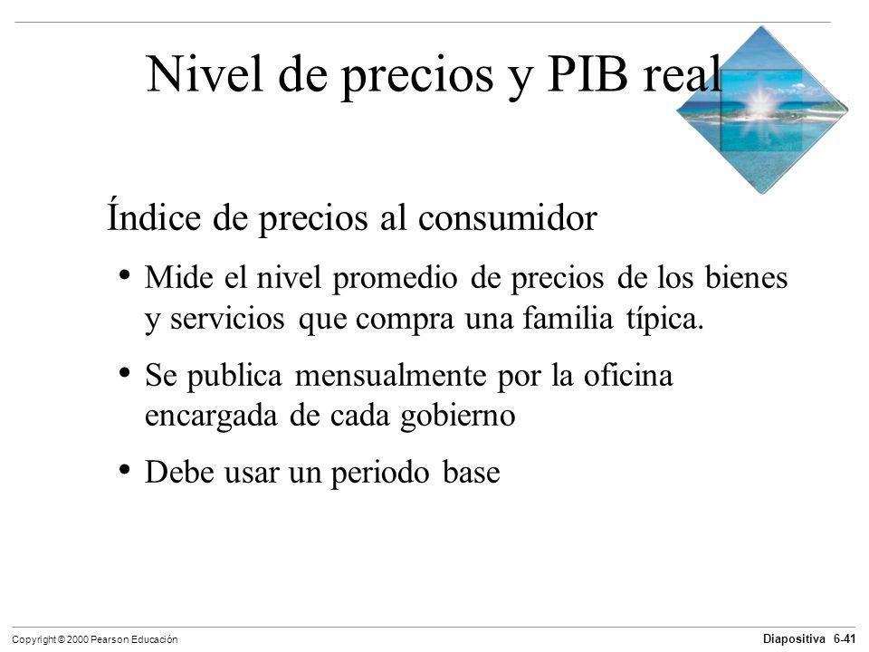 Diapositiva 6-41 Copyright © 2000 Pearson Educación Nivel de precios y PIB real Índice de precios al consumidor Mide el nivel promedio de precios de l
