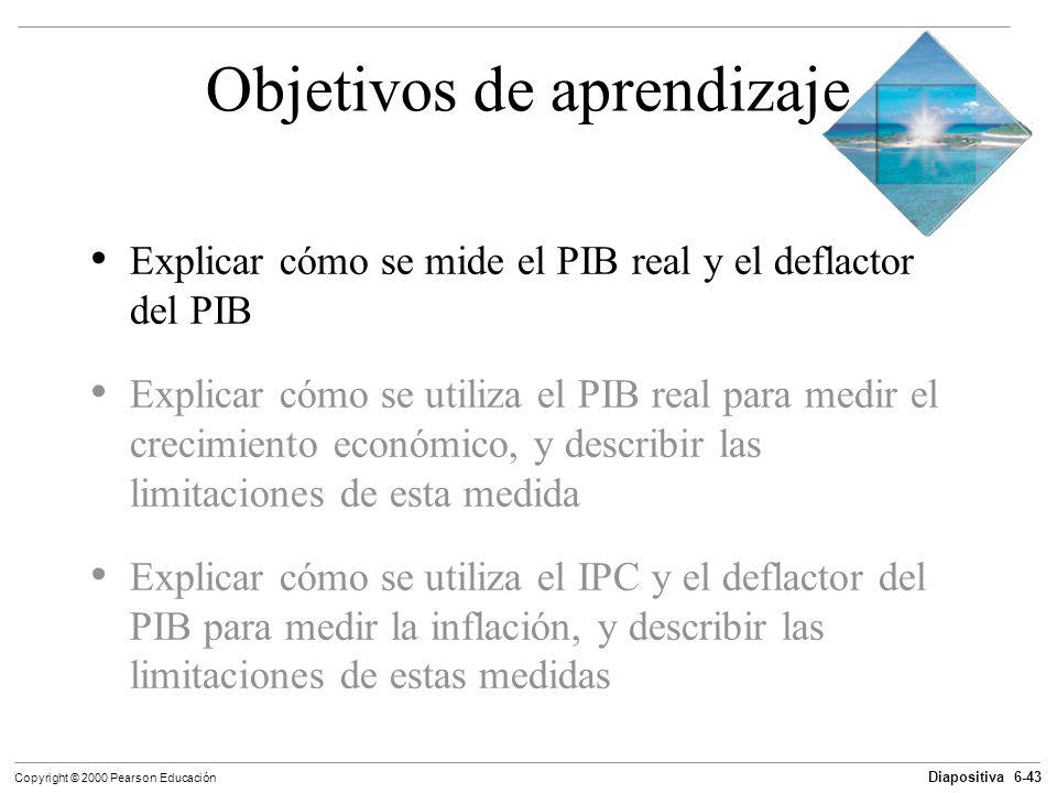 Diapositiva 6-43 Copyright © 2000 Pearson Educación Objetivos de aprendizaje Explicar cómo se mide el PIB real y el deflactor del PIB Explicar cómo se
