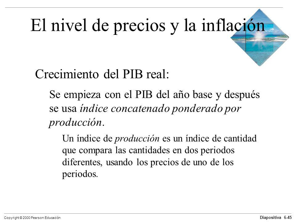 Diapositiva 6-45 Copyright © 2000 Pearson Educación El nivel de precios y la inflación Crecimiento del PIB real: Se empieza con el PIB del año base y