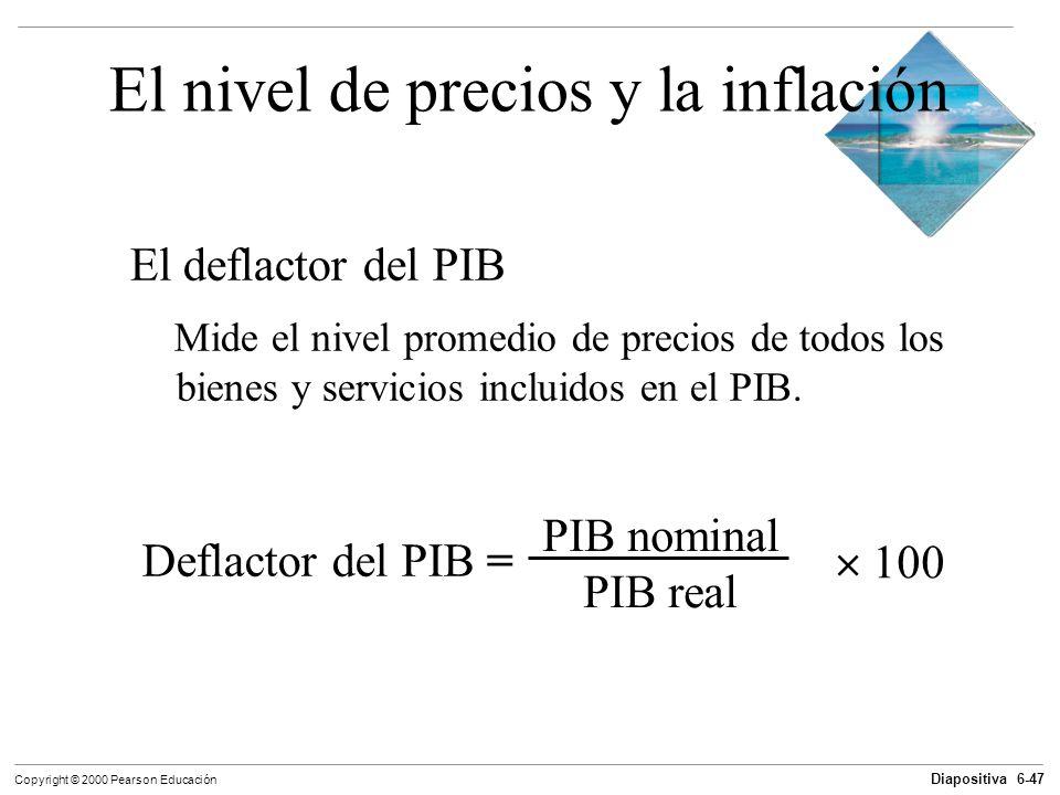 Diapositiva 6-47 Copyright © 2000 Pearson Educación El nivel de precios y la inflación El deflactor del PIB Mide el nivel promedio de precios de todos