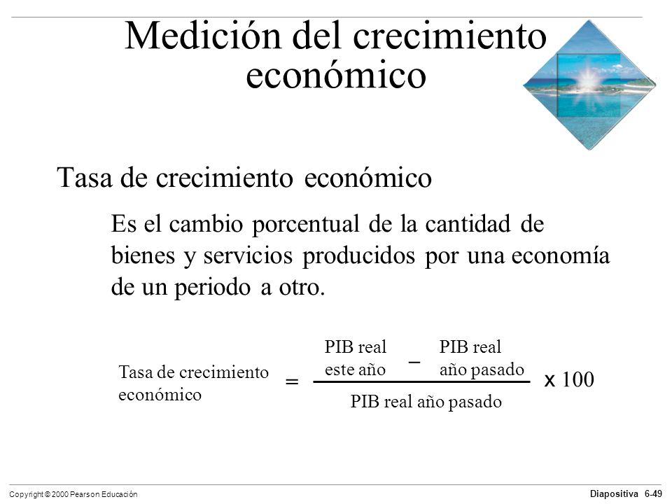 Diapositiva 6-49 Copyright © 2000 Pearson Educación Medición del crecimiento económico Tasa de crecimiento económico Es el cambio porcentual de la can