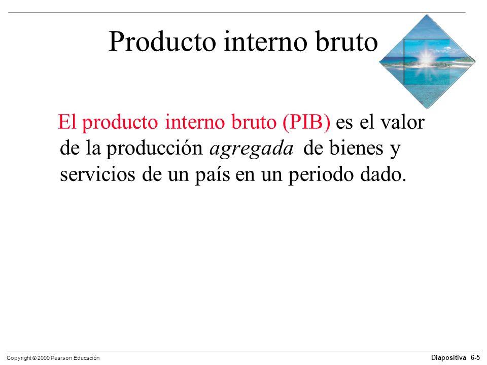 Diapositiva 6-5 Copyright © 2000 Pearson Educación Producto interno bruto El producto interno bruto (PIB) es el valor de la producción agregada de bie
