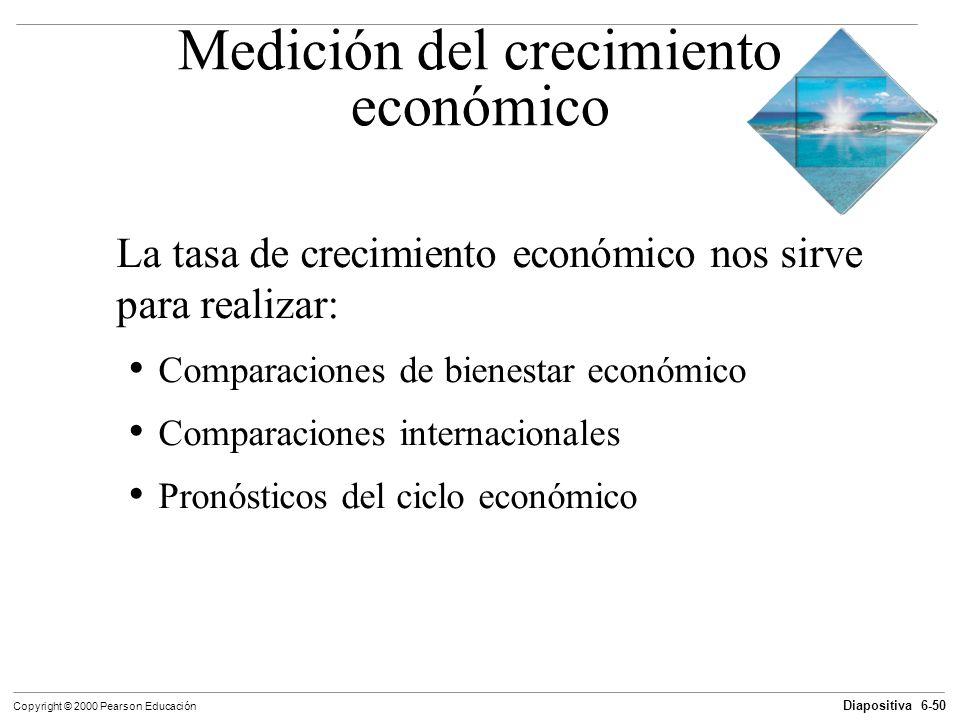 Diapositiva 6-50 Copyright © 2000 Pearson Educación Medición del crecimiento económico La tasa de crecimiento económico nos sirve para realizar: Compa