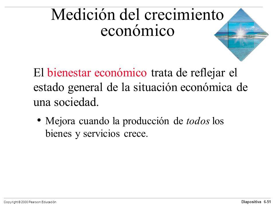 Diapositiva 6-51 Copyright © 2000 Pearson Educación Medición del crecimiento económico El bienestar económico trata de reflejar el estado general de l