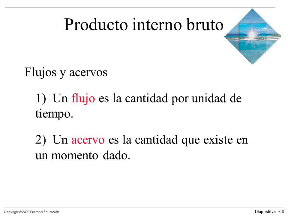 Diapositiva 6-6 Copyright © 2000 Pearson Educación Producto interno bruto Flujos y acervos 1) Un flujo es la cantidad por unidad de tiempo. 2) Un acer