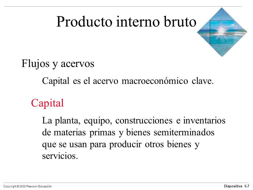 Diapositiva 6-7 Copyright © 2000 Pearson Educación Producto interno bruto Flujos y acervos Capital es el acervo macroeconómico clave. Capital La plant