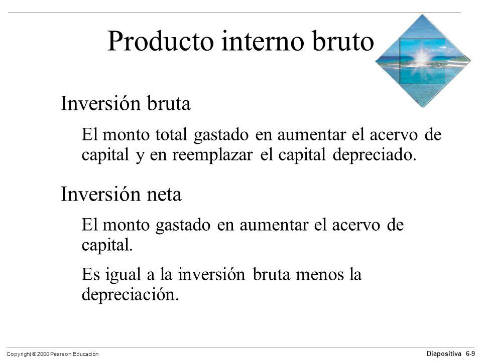 Diapositiva 6-9 Copyright © 2000 Pearson Educación Producto interno bruto Inversión bruta El monto total gastado en aumentar el acervo de capital y en
