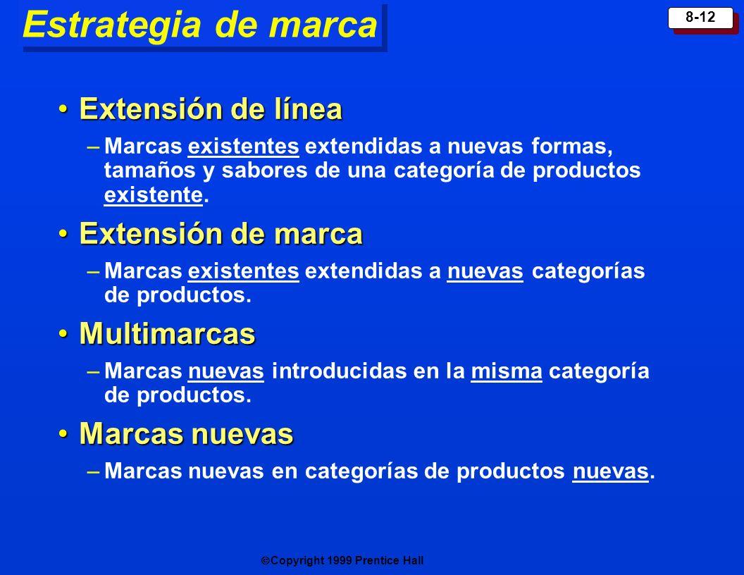 Copyright 1999 Prentice Hall 8-12 Estrategia de marca Extensión de líneaExtensión de línea –Marcas existentes extendidas a nuevas formas, tamaños y sa